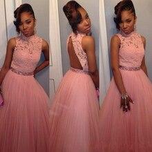 2016 rosa Ballkleid Mädchen Prom Kleider High Neck Backless Mit Spitze Applique Abschlussfeier Kleid Tüll Lange Abendkleid