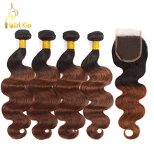 HairUGo Hair Pre-Colored 4 Bundles With Closure Malaysian Body Wave Hair Non Remy Human Hair Weave Bundle Omber Color