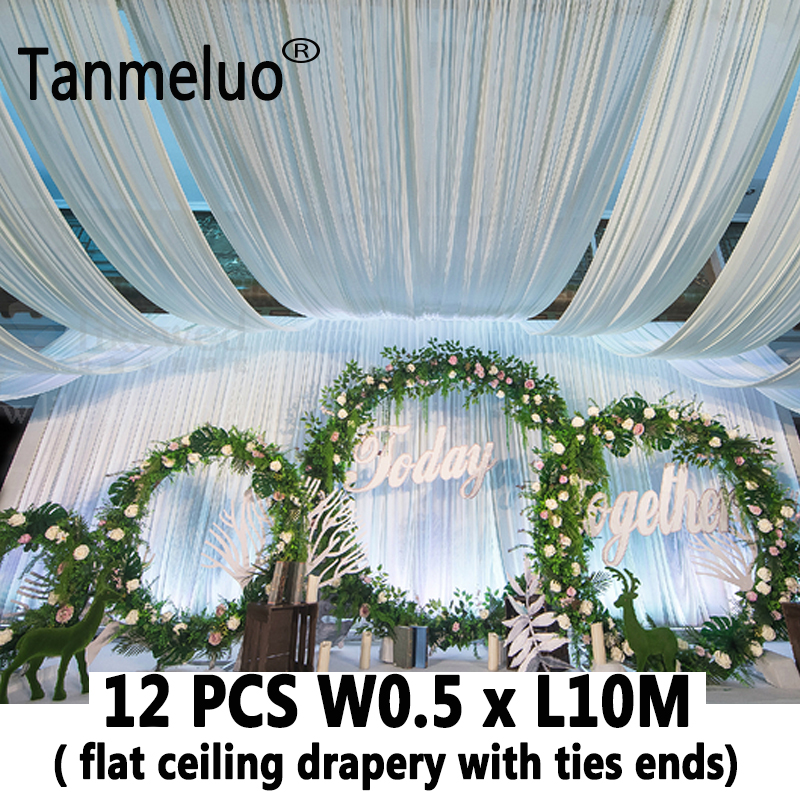 12PCS White luxury wedding roof drape fabric canopy drapery for wedding fabric decoration organza tulle wedding
