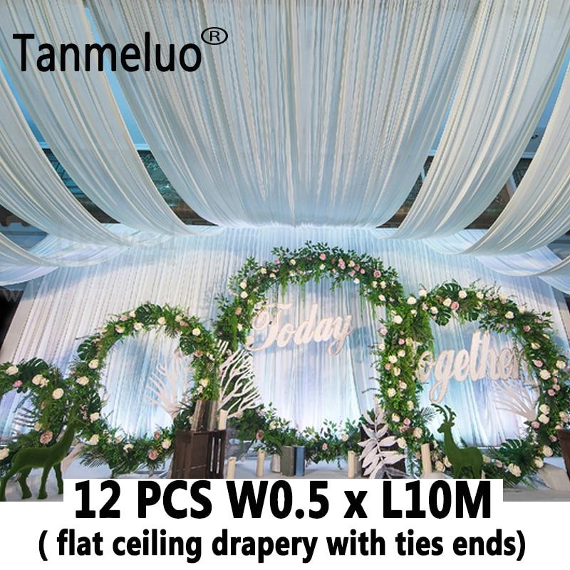 12 sztuk biały luksusowy ślub na dachu zasłona pokrycie z tkaniny draperia do tkaniny ślubne dekoracja organza suknia ślubna tiul koronka zasłony sufitowe w Tła imprezowe od Dom i ogród na  Grupa 1