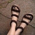 2016 projeto original mulheres artesanais de couro genuíno breves sapatos de salto alto sandálias das mulheres casuais 93785