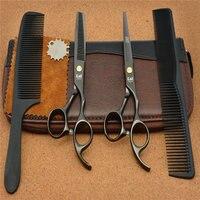 4Pcs Set 5 5 16cm Japan Kasho Black 440C Professional Human Hair Scissors Hairdressing Cutting Shears