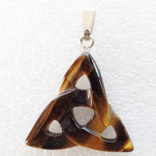 (Min.order 10$ mix) Free shipping Tiger Eye Gem Triangle Pendant bead Used For Necklace Unisex 31x36x5mm