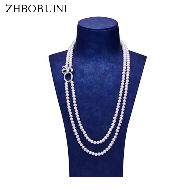 ZHBORUINI Fashion Long Pearl Necklace Natural Freshwater Pearl Butterfly Pearl Jewelry For Women Statement Necklace Accessories zhboruini fashion long multilayer pearl necklace freshwater pearl tassels women accessories statement necklace jewelry for women