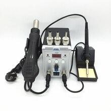 חדש הדיגיטלי עיבוד חוזר תחנת 8586 2in1 הלחמה חשמל ברזל שיער מייבש אוויר חם אקדח עם תיקון כלי קיט