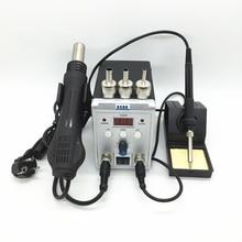 Nouvelle station de reprise daffichage numérique 8586 2in1 fer à souder électrique et sèche cheveux pistolet à Air chaud avec kit doutils de réparation