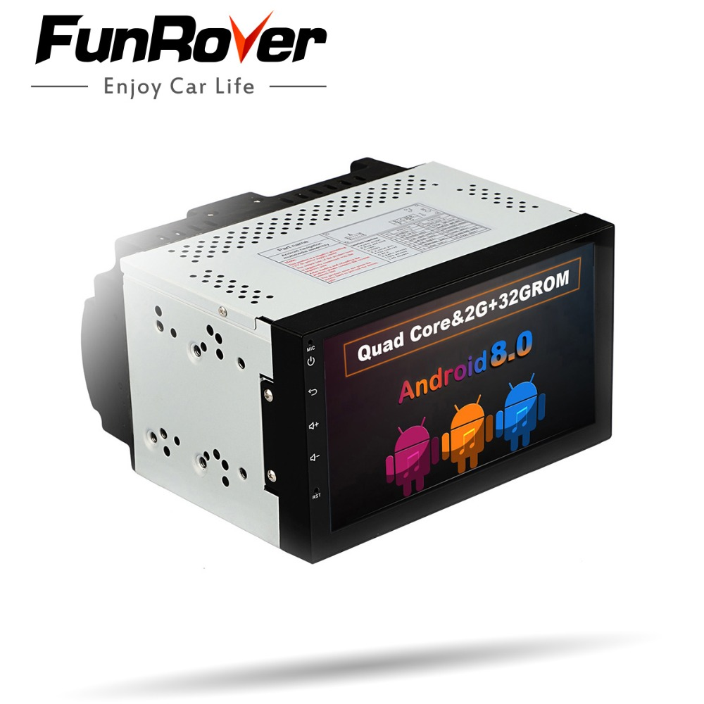 Funrover 7 2 Din Android 8.0 Car Radio Universal GPS Navigation multimedia Autoradio Stereo FM Audio No DVD 110mm size one din