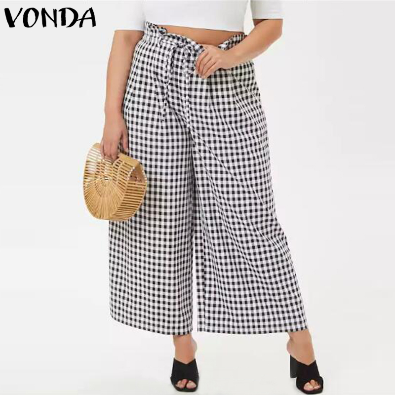 VONDA Plus Size Women Casual Pants 2018 Autumn Vintage Plaid Wide Leg Pants Loose High Waist Elegant Trousers Oversized Bottoms