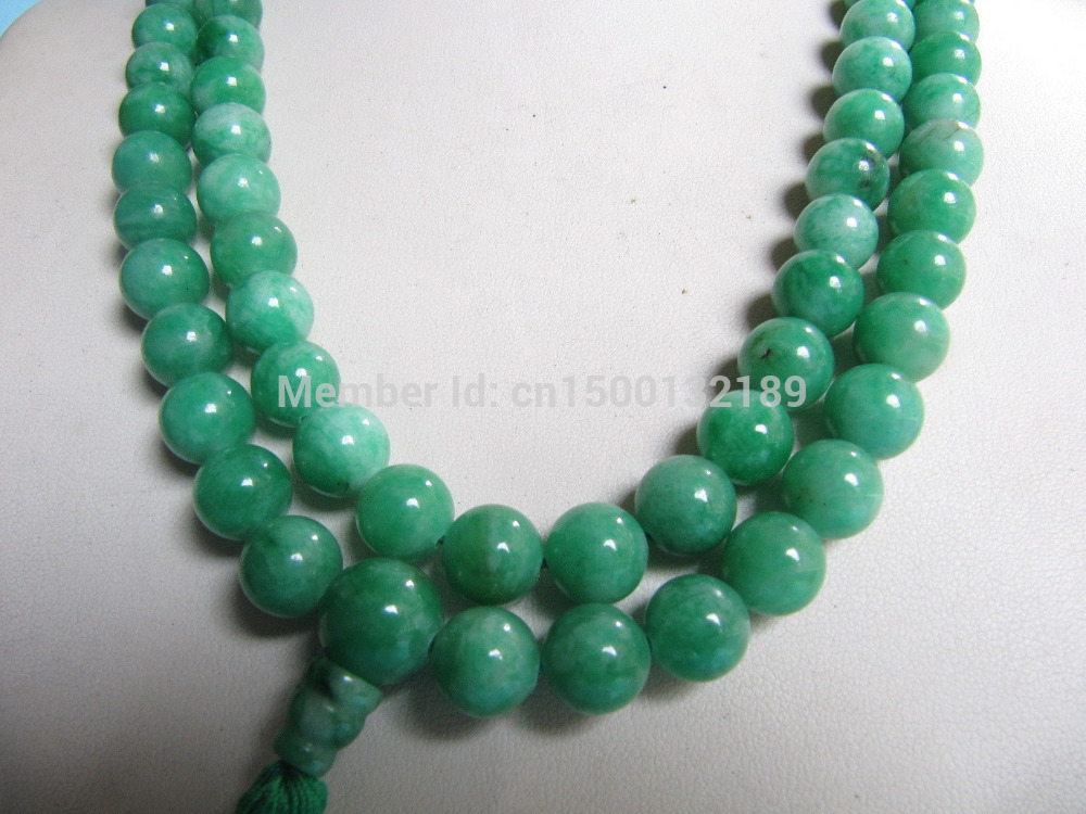 j00331 Chinese Tibet Buddhist 108 Jade Prayer Beads Mala Necklace