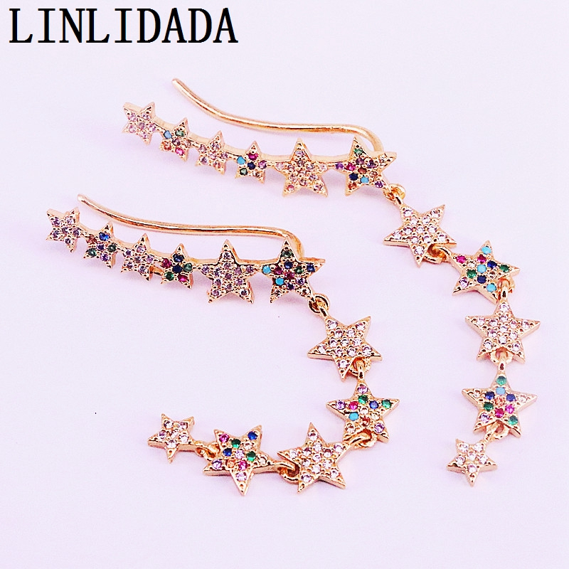 4Pairs Fashion jewelry Gold filled micro pave rainbow cubic zirconia star charm elegant earring