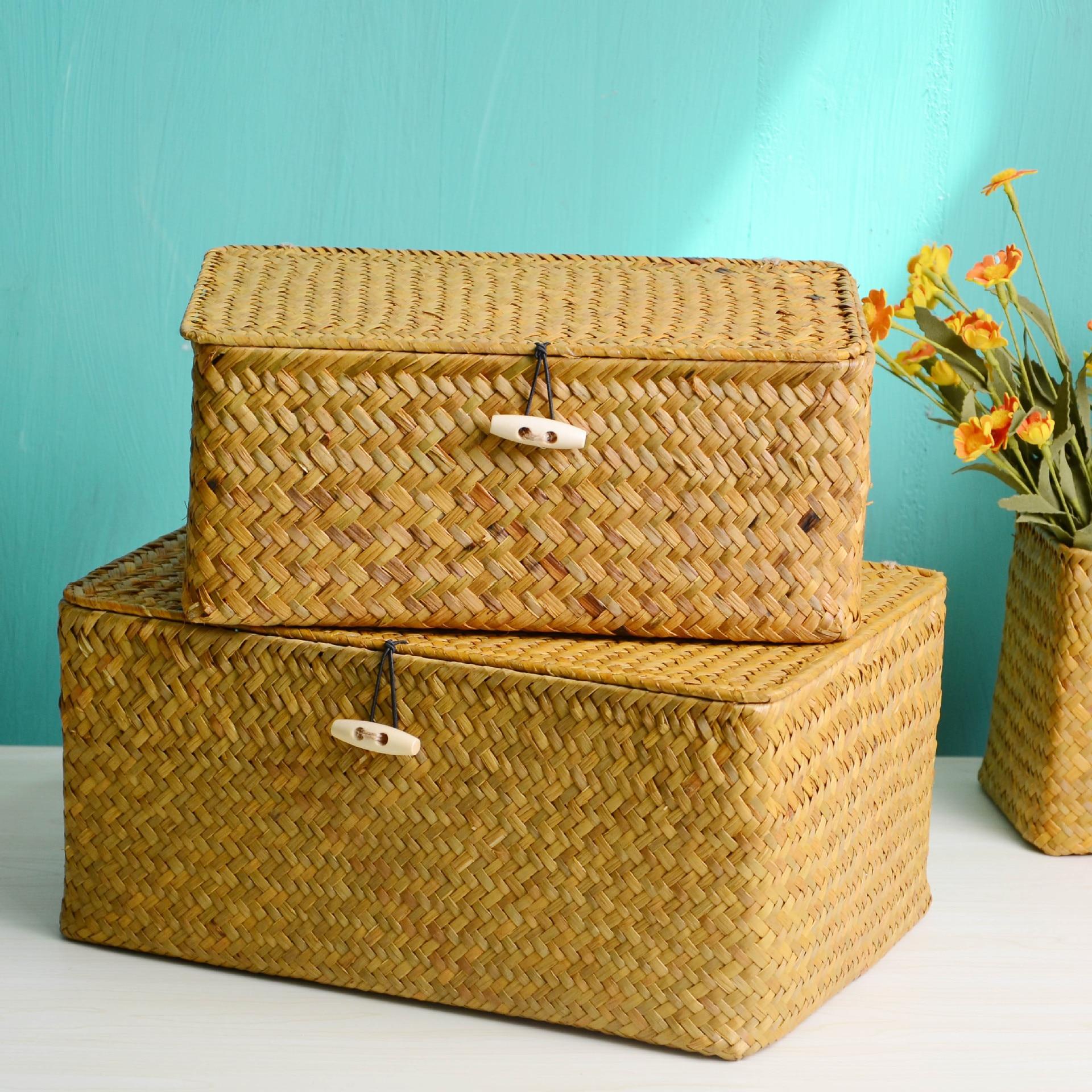 Handmade Rural Medium and Small Straw Storage Box Storage Basket Retro Rattan Crafts Gifts Home Decoration Accessories