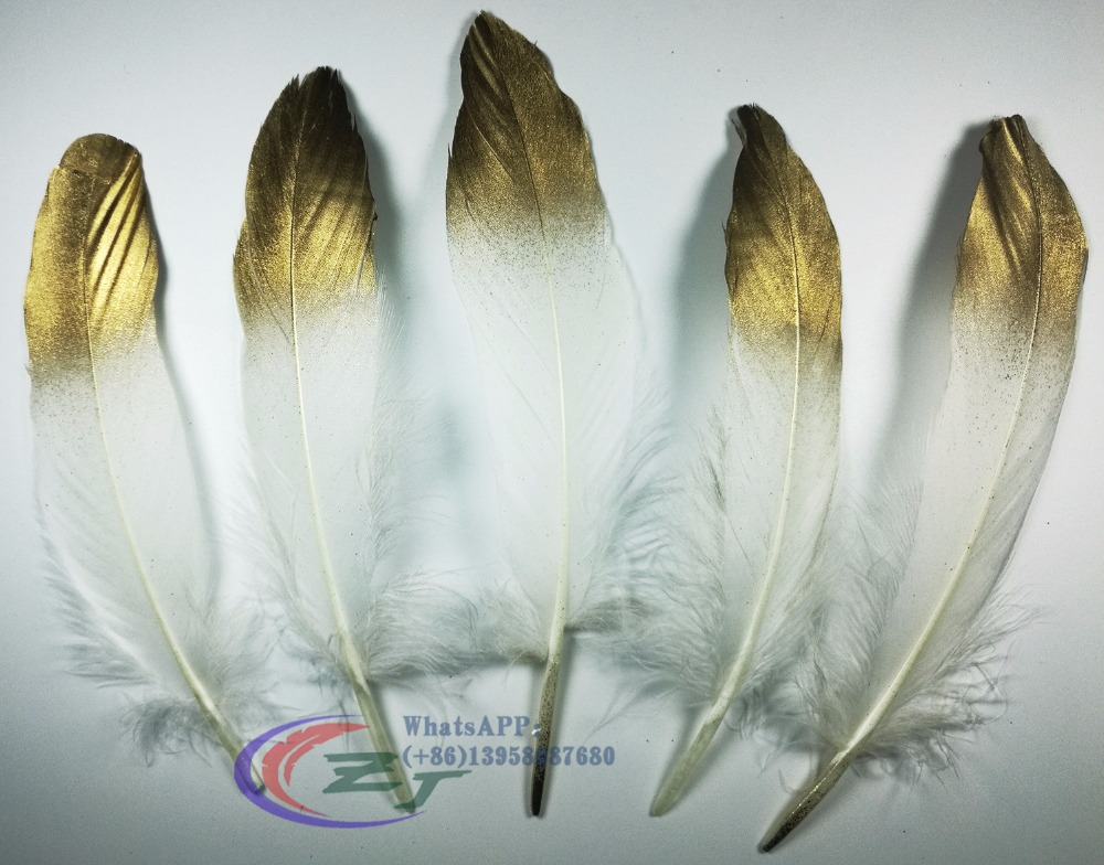 New Arrival 50pcs/lot!13-17cm Gold Tip Goose Feathers,Hat Trimming,Feathers for Millinery,Fascinators&Crafts
