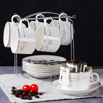 Europen Style Ceramic Coffeeware Sets 6pcs/set Cup Saucer Spoon Sets Gift Box Porcelain Coffee Cups Sets with Cup Holder