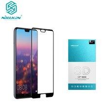 Para huawei p20 nillkin 3d cp + max cobertura completa de vidro temperado para huaweo p20 pro protetor de tela para p20 pro
