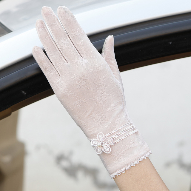 Sexy Spring Summer Women Autumn UV Sunscreen Short  Sun Gloves Fashion Ice Silk Lace Driving Of Thin Touch Screen Gloves G06F 1