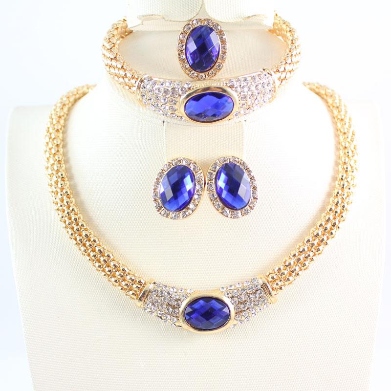 Купить ювелирные наборы для женщин вечерние свадебные аксессуары голубой
