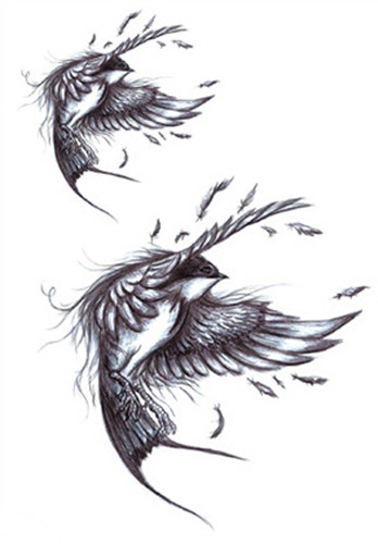 734ca5939391d Waterproof Temporary Fake Tattoo Stickers Vintage 3D Fly Grey Swallows  Birds Sketch Design Body Art Make Up Tools-in Temporary Tattoos from Beauty  & Health ...