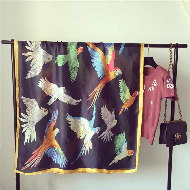 Wanita Syal Sutra Cerah Burung Kartun Selendang Panjang Halus Musim Panas Bungkus Panas Banada Baru [1830]