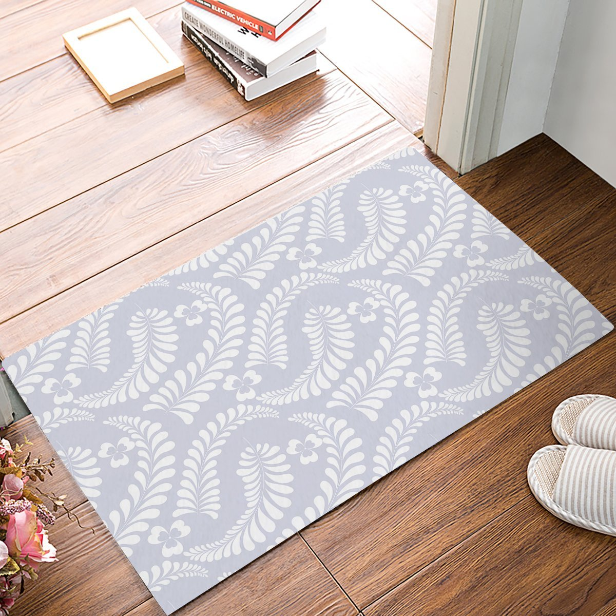 Light Purple and White Plant Pattern Clover Bathroom Doormat Carpet Indoor Mat Anti Skid Shag Shaggy Bath Shower Mats