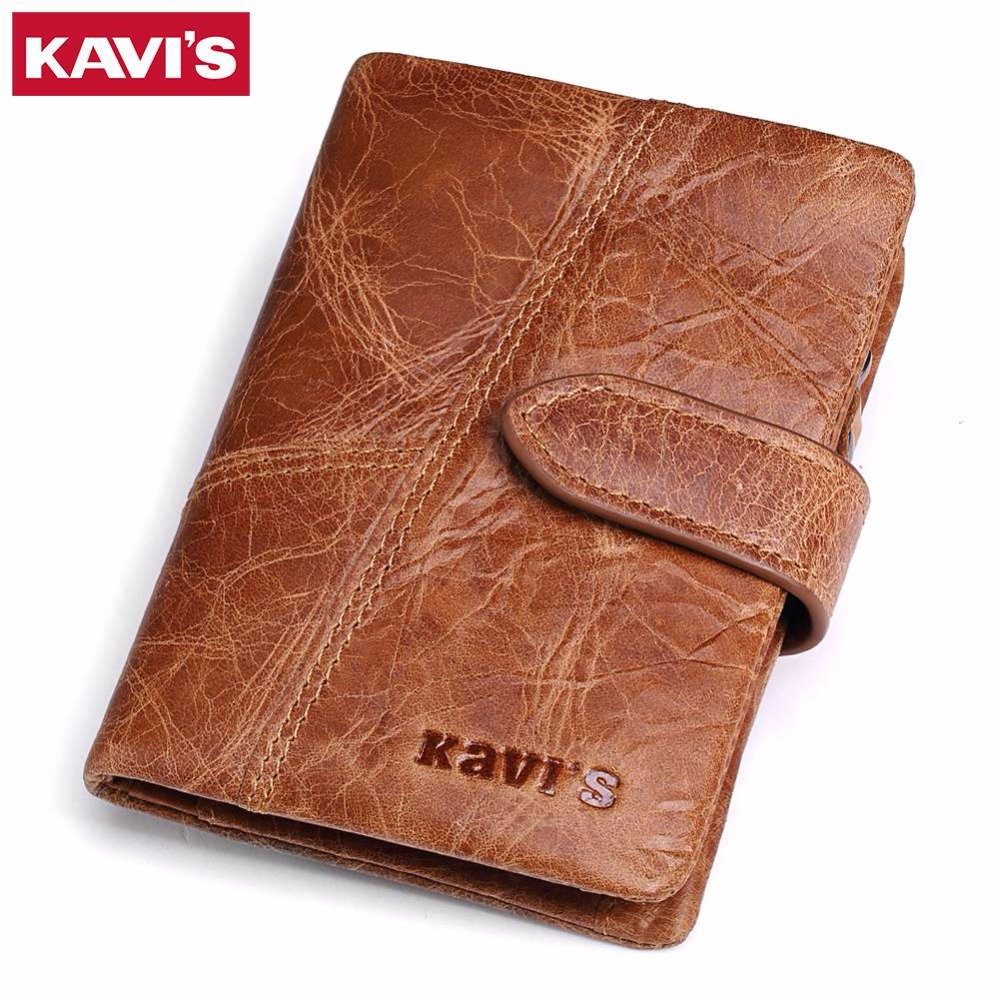 KAVIS New Arrival Crazy Horse Leather Wallet Men Male Coin Purse Genuine Leather With PORTFOL Small Walet Portomonee And Rfid