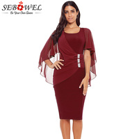 SEBOWEL 2018 Women's Chiffon Belted Bodycon Pencil Party Dress Round Neck 3/4 Puff Sleeve Midi Dress Poncho Cape Style Vestidos