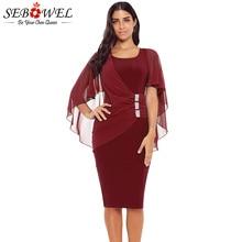 66e700f5db SEBOWEL 2019 Women's Chiffon Belted Bodycon Party Dress Puff Sleeve Midi Dress  Style