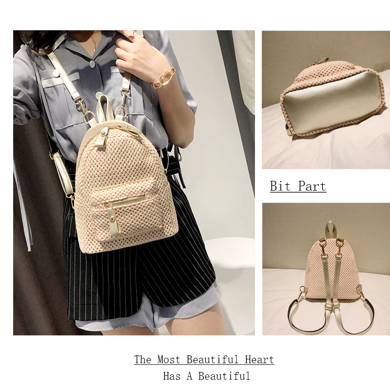Double shoulder bag woman 2018 new Korean straw bale fashion knitwear mini backpack leisure travel bag