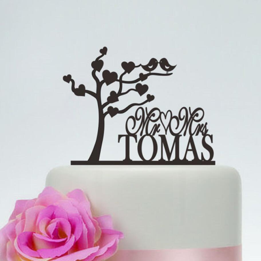 Love Tree Cake Topper,Love Birds Topper,Mr And Mrs Cake Topper With Last Name,Custom Cake Topper,Wedding Party Cake Topper