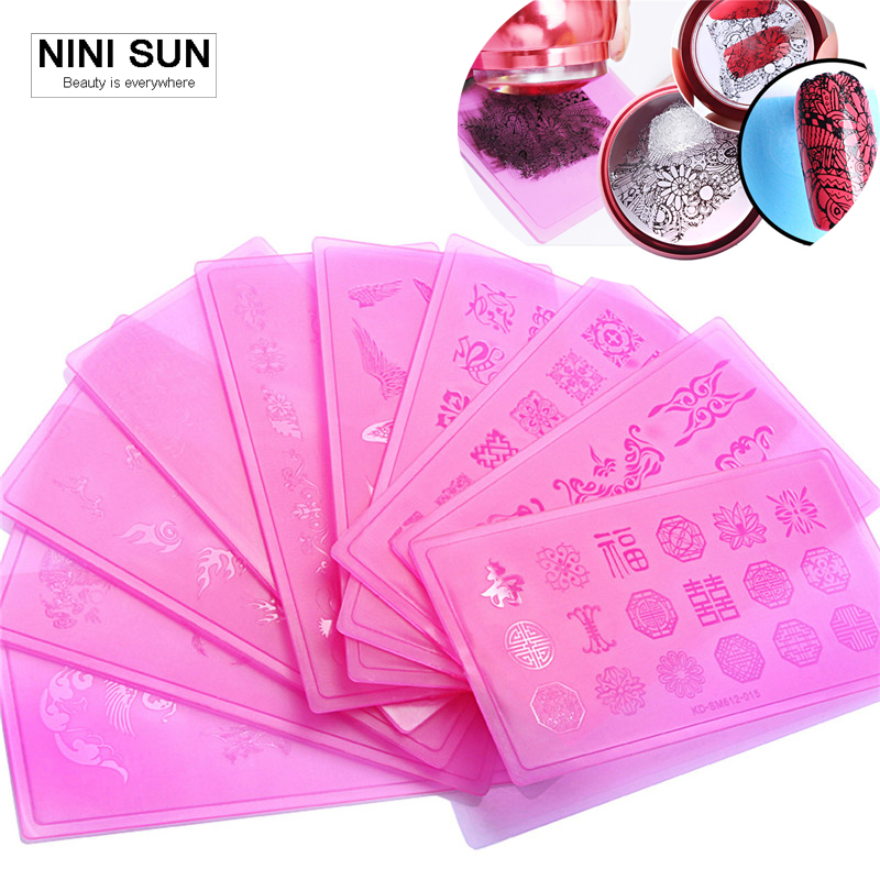 2016 New 10pcs New Acrylic Nail stamper Nail Stamping Plates DIY Manicure Templates New Flower Lace Template Manicure Nail Tools