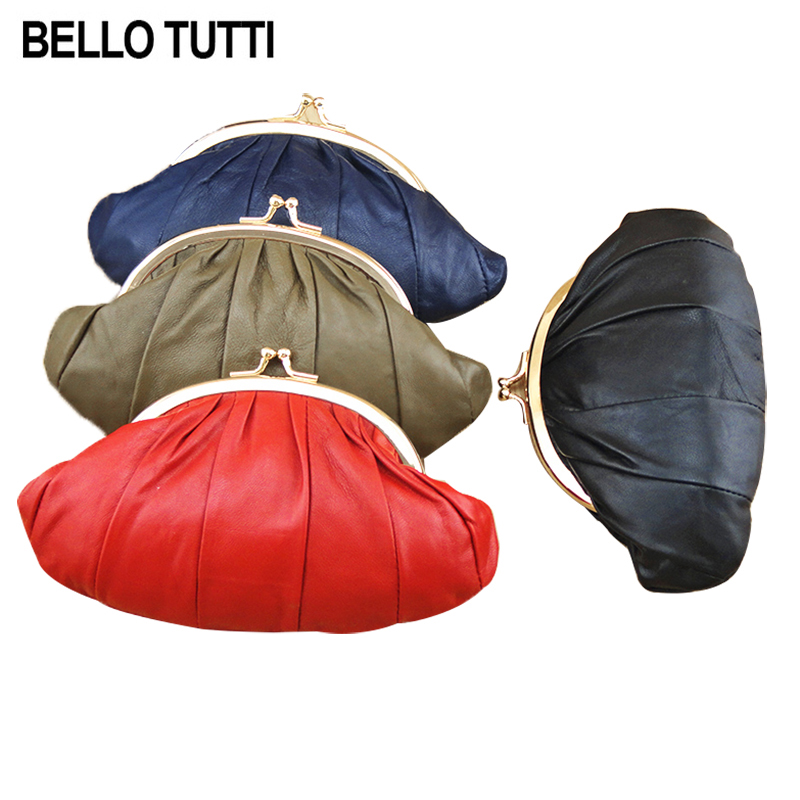 BELLO TUTTI Womens Genuine Leather Mini Coin Purse Female Wallet Sheepskin Hasp Change Purse Small Bag Double Layer 1 Piece