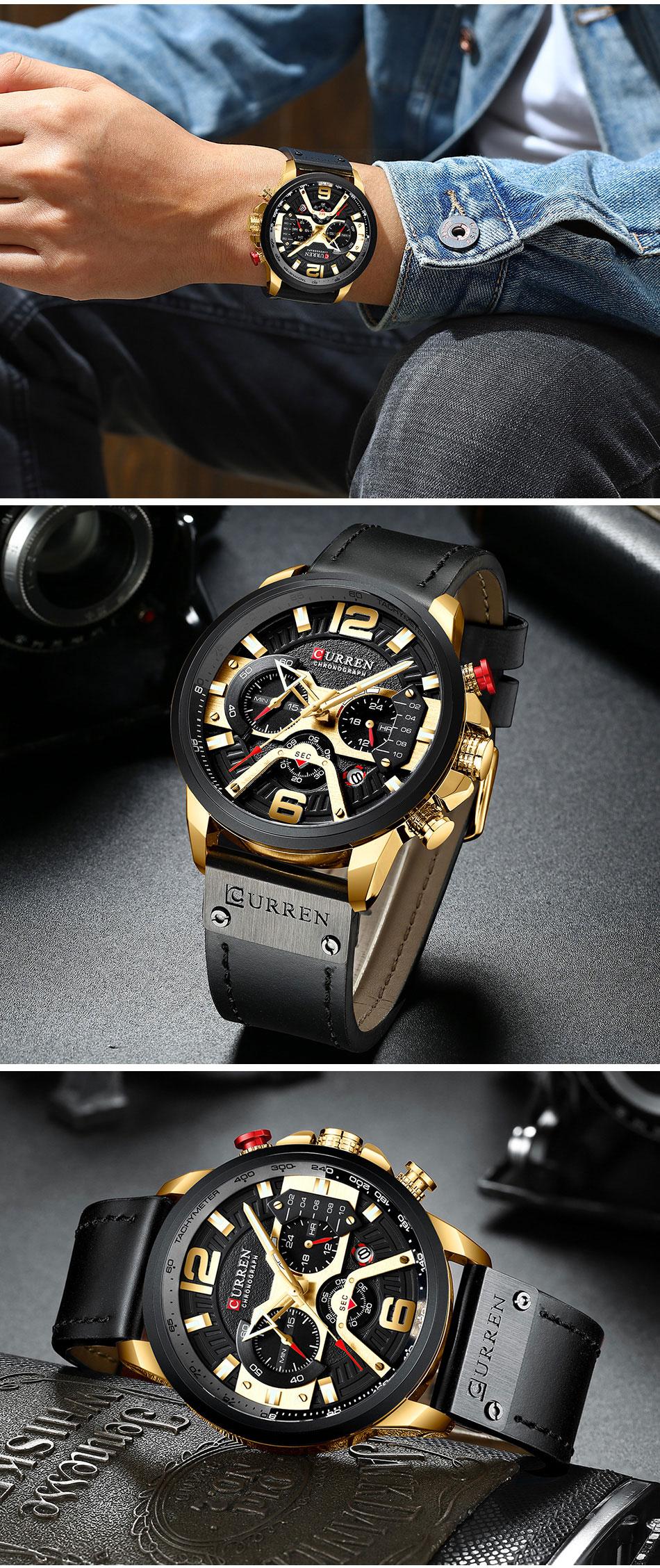 HTB1Qi 9VNnaK1RjSZFtq6zC2VXau CURREN Luxury Brand Men Analog Leather Sports Watches Men's Army Military Watch Male Date Quartz Clock Relogio Masculino 2019