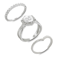 Custom Monogram Ring Engraved Stackable Ring With Cubic Zirconia Sterling Silver Wedding Rings