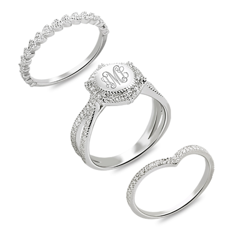 цена на Custom Monogram Ring Engraved Stackable Ring With Cubic Zirconia Sterling Silver Wedding Rings
