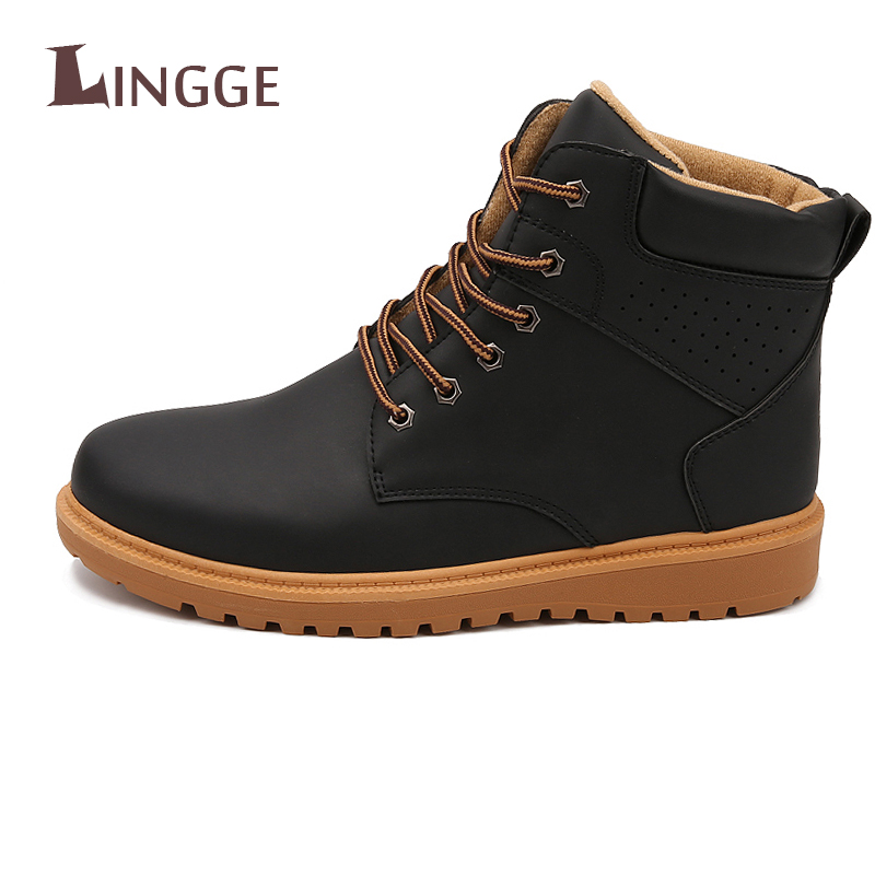 2018 Men Fashion Martin Boots Snow Casual Boots Autumn Winter Shoes Low Ankle Boots Solid Winter Shoes Lace up Men S