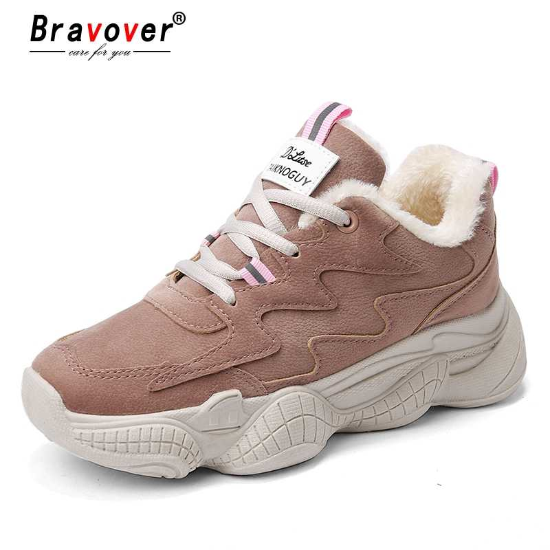 314b1bbc986 New Women Winter Fashion Clunky Sneaker Casual Fur Suede Shoes Leather  Platform Plush High Dad Shoes