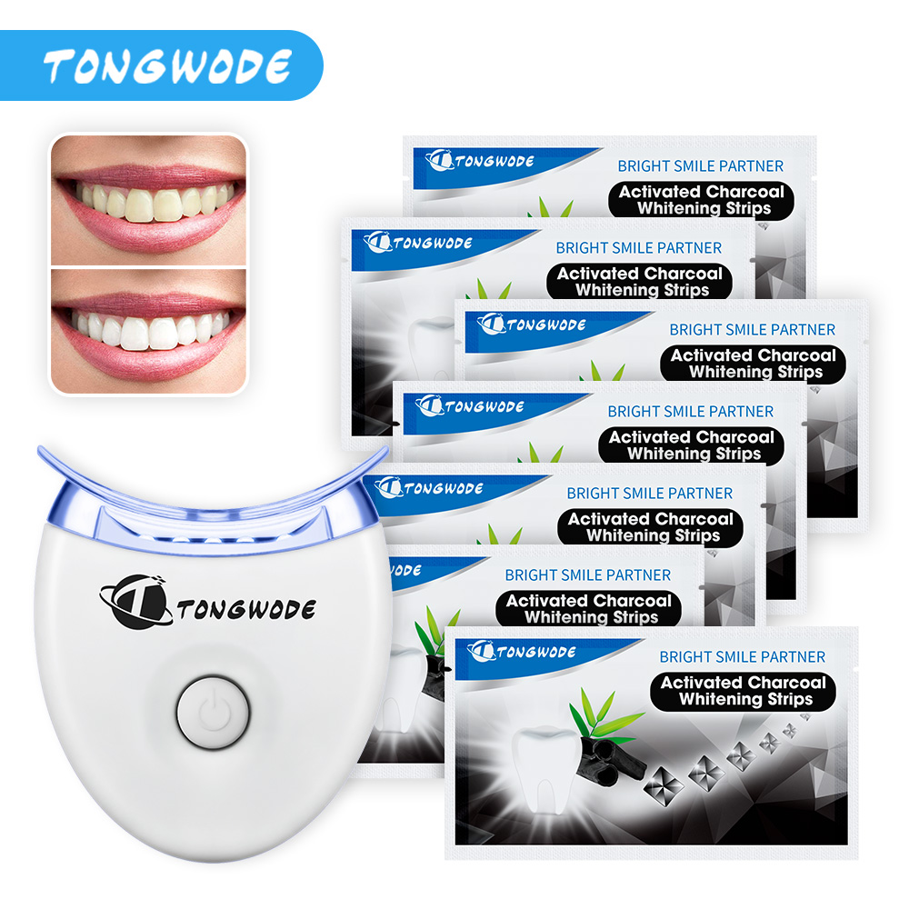 7 Pairs Natural Charcoal Coconut Teeth Whitening Strip Plus Tooth Whitening Light As a Dental Care Set for Oral Hygiene