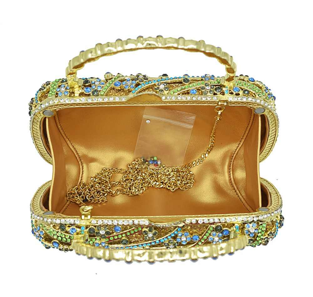 XIYUAN женские зеленые/Золотые оленьи животные бриллиантовые вечерние сумки через плечо сумка через плечо Сумка Сумочка Кошелек Сумки