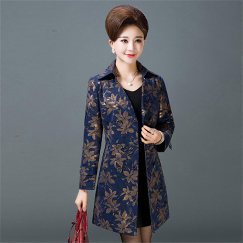 2019 New Middle-aged Women's   Trench   Coat Spring Autumn Elegant Printing Outerwear Mother Plus Size 5XL Long Windbreaker X849
