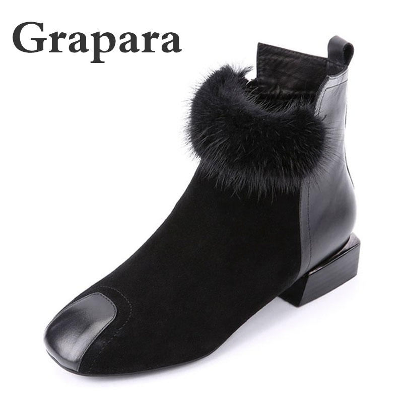 New Solid Black Flock Ankle Boots Women Shoes Woman Short Plush Women Boots Fashion Low Heels Winter Boots Botas Mujer Grapara цена 2017
