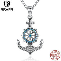 VOROCO 100 925 Sterling Silver Sky Blue Crystal Fashion Anchor Pendants Necklaces Women Jewelry Wedding Accessories