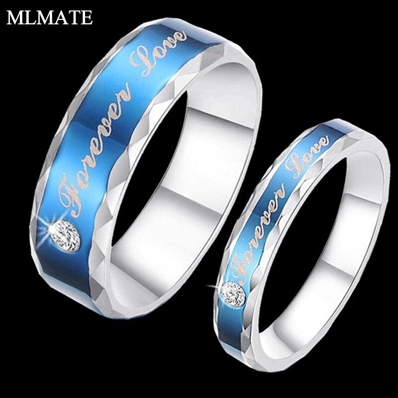 Синий Шарм Forever Love Кристалл CZ Кольцо обещание Титан Сталь Юбилей пара Кольца для Best романтические подарки