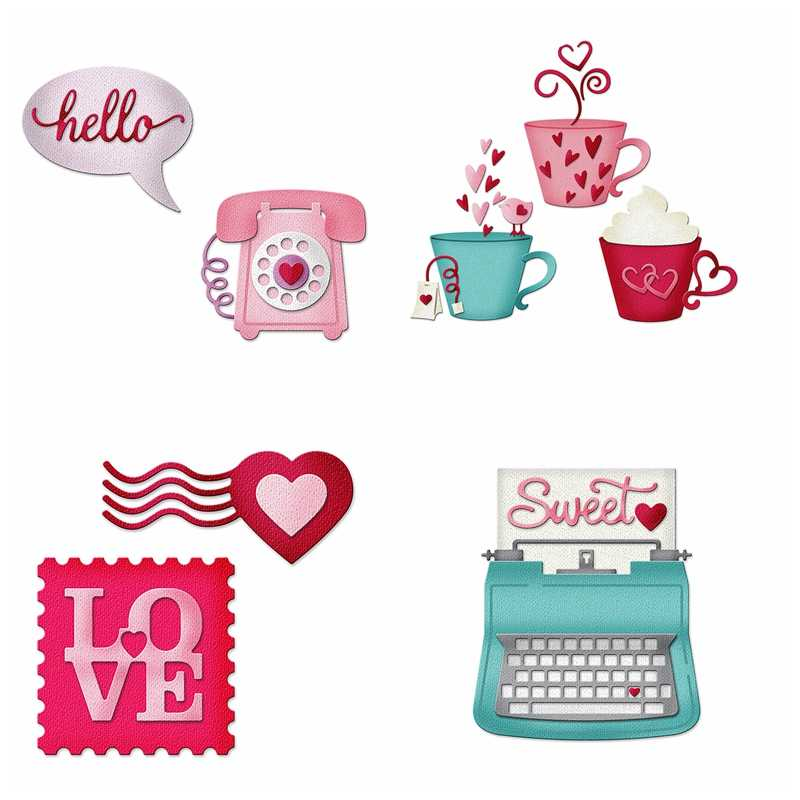 Hello Love Cup Valentine Ornament Metal Cutting Dies Stencils For DIY Scrapbooking Decoration Embossing Paper Cards Craft Die