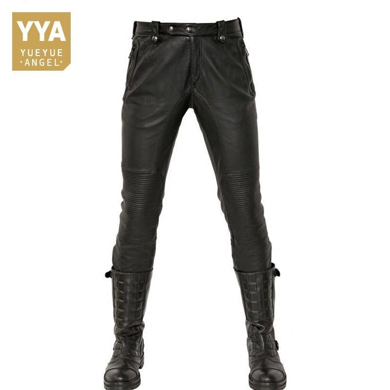 Модные из натуральной кожи брюки для девочек для мужчин новинка 2019 года Winte Motorstyle прямой максимальной длины мужские брюки панк подкладка фл