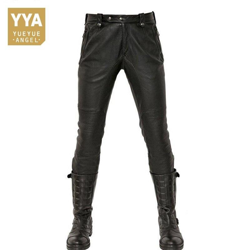 De moda pantalones de cuero de los hombres 2019 nuevo invierno Motorstyle recto longitud completa Masculina pantalones Punk forro polar Pantalon hombre