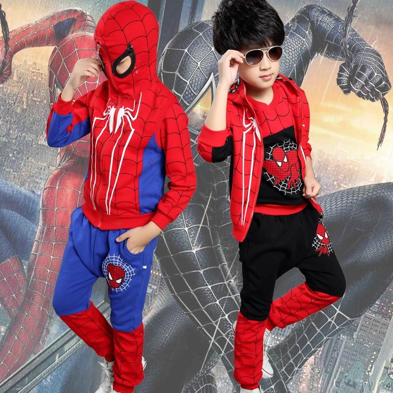 2015 Autumn Spiderman Kids Clothes 3 Sets(T-Shirt+Pants+Vest), Boys Clothes Sets Children Clothing, Boys Sport Pants 2017 children fashion boys clothing sets 2 pcs camouflage sport suits clothes sets boys girls autumn sets sweatshirts pants 14
