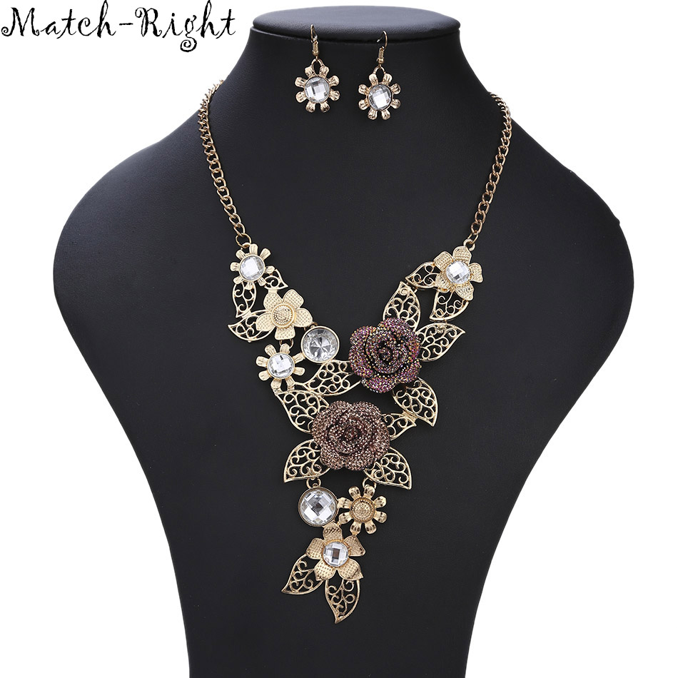 Match-Right Women Necklace Alloy Statement Necklaces Pendants Vintage Jewelry Flower Necklace Women Accessories  KK042