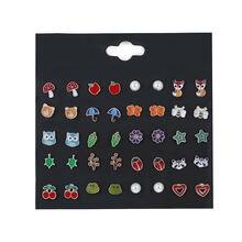 Набор из серег гвоздиков с эмалью для девочек модные милые украшения
