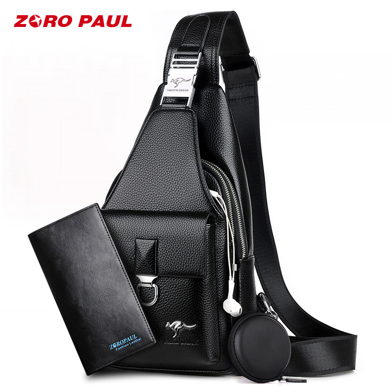 ZORO PAUL Men's Casual Shoulder PU Leather Crossbody Bags Men Travel Chest Pack Messenger Bag With Purse