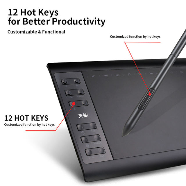 10moons 10x6 Inch Graphic Drawing Tablet  8192 Levels  Digital Tablet  No need charge Pen 4