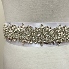 ShinyBeauty Wedding Bridesmaid Sash Belt Wedding Bridal Sash Belt Crystal Rhinestone Applique Trim RA301